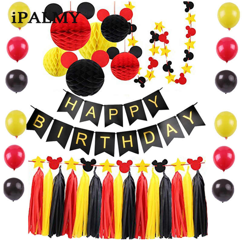ipalmy Minnie Birthday Party Decoration Set Mickey Mouse Ears Honeycomb Balls Stars Garland Banner Red Yellow Black Theme