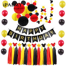 ipalmy Mickey Minnie Birthday Party Decoration Set Mickey Mouse Ears Honeycomb Balls Stars Garland Banner Red Yellow Black Theme(China)