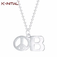 Kinitial 925 Sterling Silver Peace Sign Chain Charm Long Symbol Pendant Necklace Letter B Necklace Women