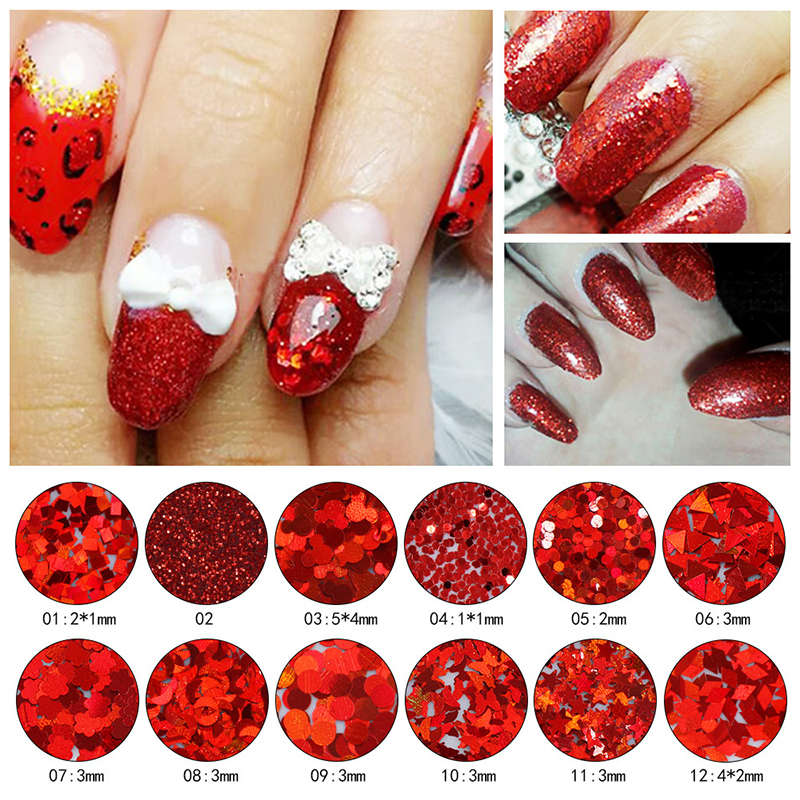 Nail Glitter Red Fashion Art