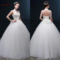 Custom Made Elegant Wedding Dresses 2018 Ball Gown High Neck Beading Lace Tulle Long Formal Wedding