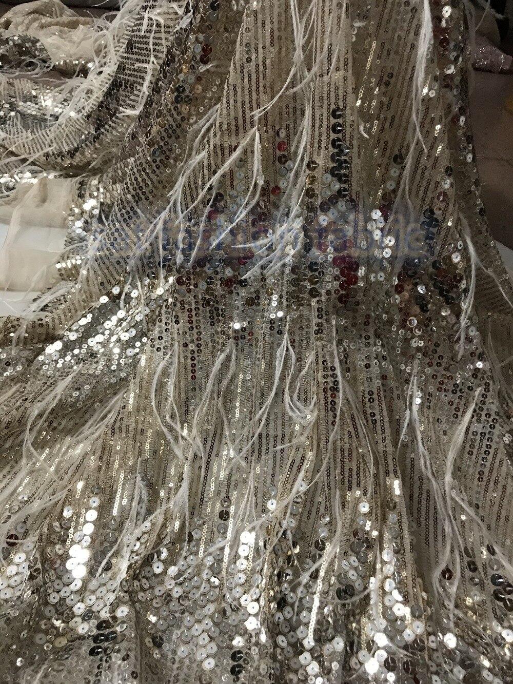 Belle paillettes dentelle française sat 5623 avec plume pour les femmes longue robe de soirée nouveau Design-in Dentelle from Maison & Animalerie    1