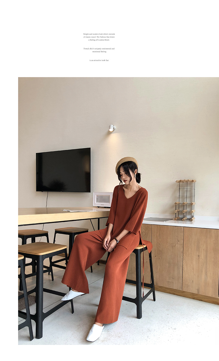 Knitting Female Sweater Pantsuit For Women Two Piece Set Knitted Pullover V-neck Long Sleeve Bandage Top Wide Leg Pants  Suit 8