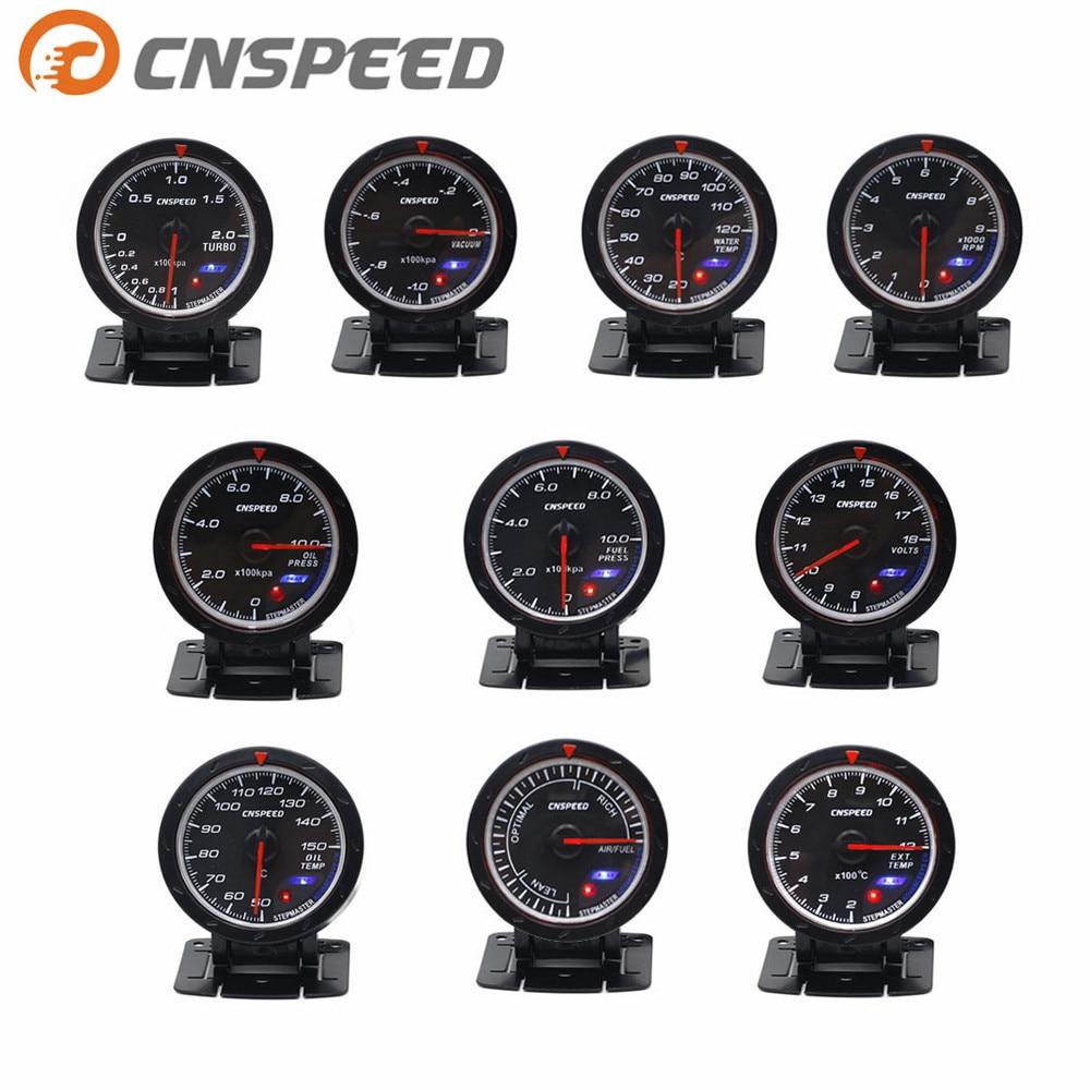 CNSPEED 60MM Volt meter Water temp Oil temp gauge Turbo Boost gauge Oil press meter Exhaust gas temp gauge EGT/EXT Vacuum gauge