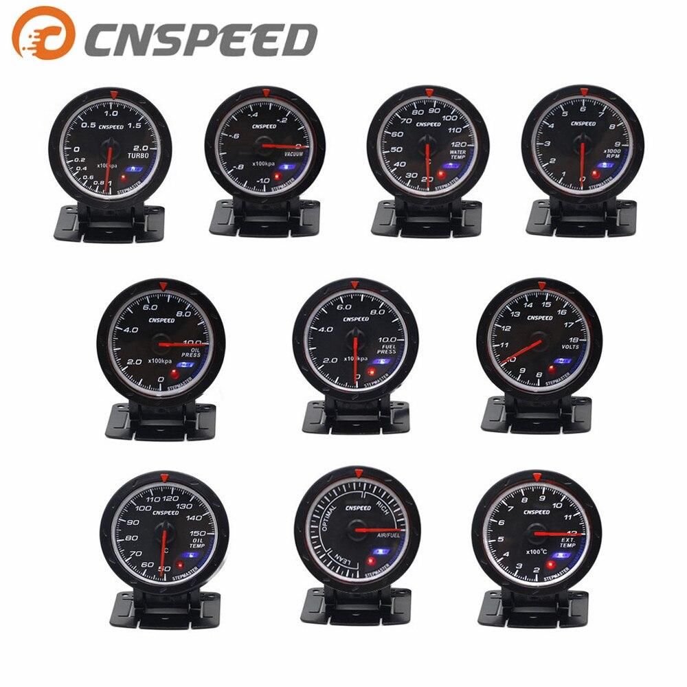 CNSPEED 60mm Volt meter agua temperatura del aceite medidor Turbo Boost Metro prensa de aceite medidor de temperatura de escape de gas EGT/EXT medidor de vacío