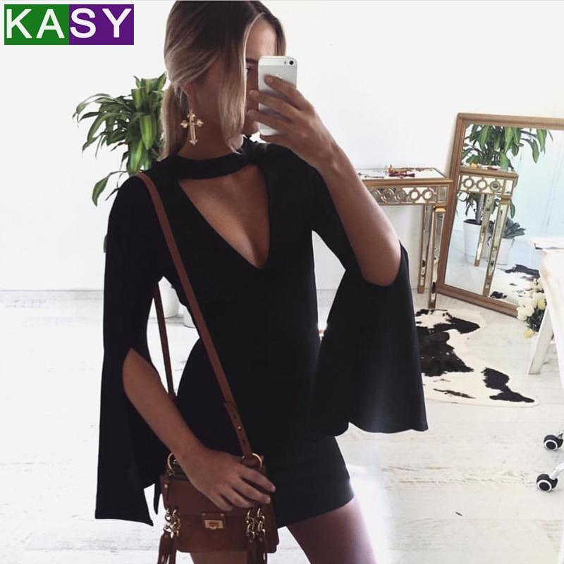 3a3a02ac3fa9 Sexy Women Split Flare Sleeve Halter Bodycon Dress Solid Black Deep V Neck  Slim Mini Dress