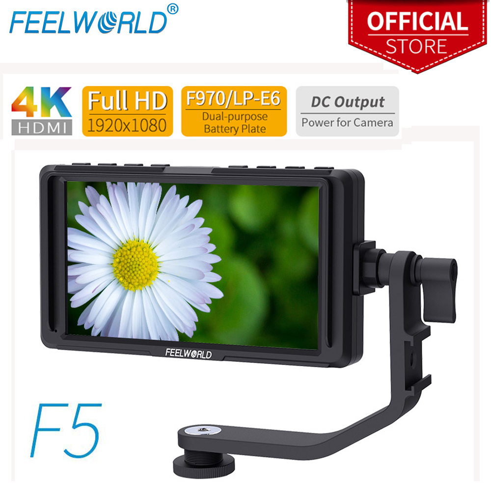 FEELWORLD F5 5 inch On Camera field monitor Full small HD 1920x1080 LCD DSLR monitor DC Power Tilt Arm for 4K HDMI Input OutputFEELWORLD F5 5 inch On Camera field monitor Full small HD 1920x1080 LCD DSLR monitor DC Power Tilt Arm for 4K HDMI Input Output