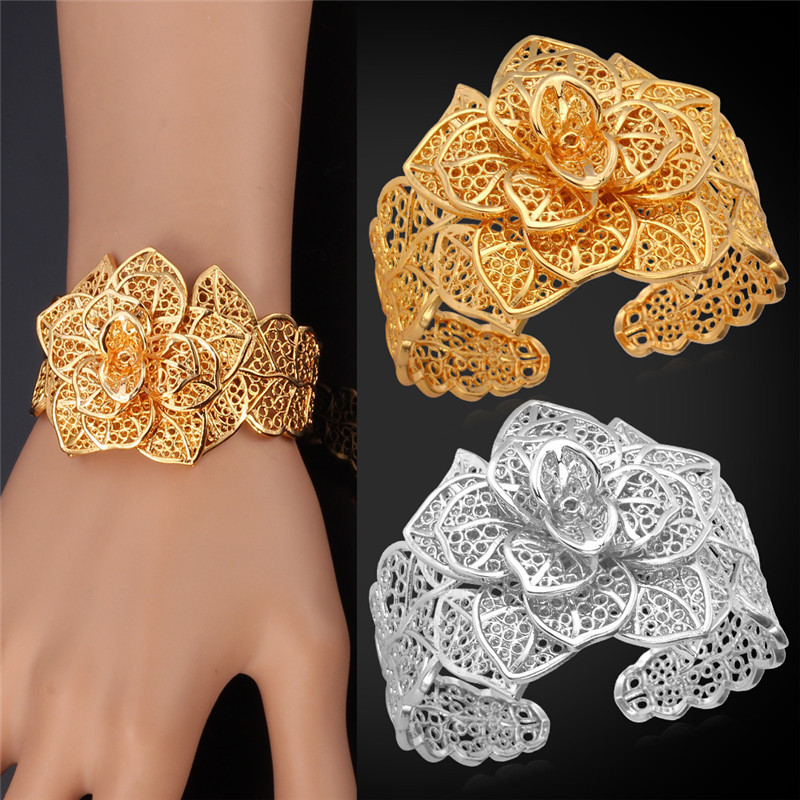 viennois rose big bangle women plate gold crystal bracelet shimmering eshkol leaf free hollow rhinestone new product for feather