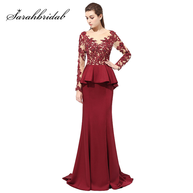 Sexy Illusion Lace Appliques Top Burgundy Mermaid Evening Dresses with  Beaded Satin Ruffles Long Sleeve Prom Party Gowns LX406 cdb0a4202f91