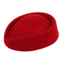 New Elegant Wool Felt Pillbox Stewardess Air Hostesses Beret Hat Party Base Cap