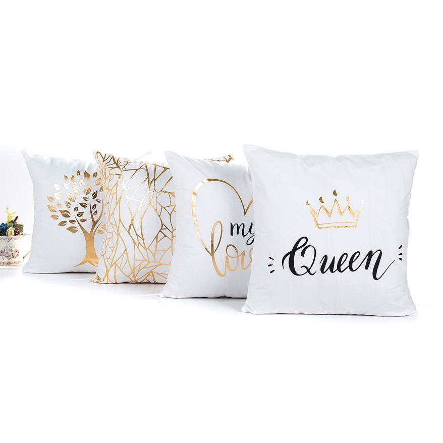 45cmX45cm Fashion Gold Foil Printing Pillow Case Sofa Waist Throw Cushion Cover Home Decor 2O915
