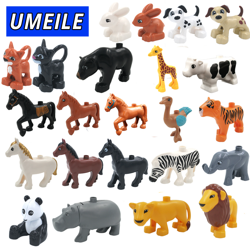 UMEILE 28 Style Original Classic Animal Zoo Big Building Blocks Kids Toys DIY Set Brick Compatible with Duplo Christmas Gift umeile brand farm life series large particles diy brick building big blocks kids education toy diy block compatible with duplo