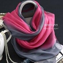 a3b2ecc51cc4 Genuino seda bufanda de las mujeres de moda rojo clásico gris degradado Bufandas  2016 verano Otoño Invierno buena calidad chal c.
