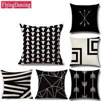 Linen Geometric Series Style Cushion 45cm 45cm Square Home Decorate Line Printed Throw Sofa Nap Seat