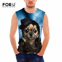 FORUDESIGNS Brand Clothing Fitness Men Tank Top Bodybuilding Tops Funny 3D Dog Animal Male Regatas Masculina