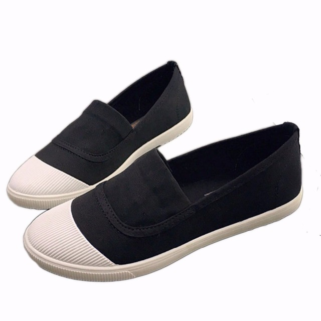 2017 Fashion Korean Women Vulcanize Shoes Slip On Comfort Flat Casual Shoes for Women Canvas Shoes Ladies Flats White Shoes