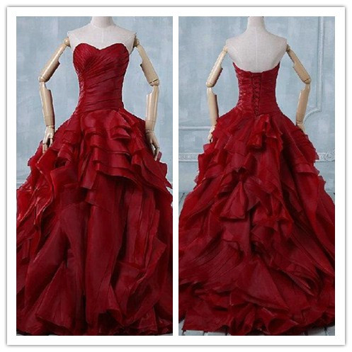 2016 Design Fashion Unique Fold Organza Red Ball Gown Wedding ...