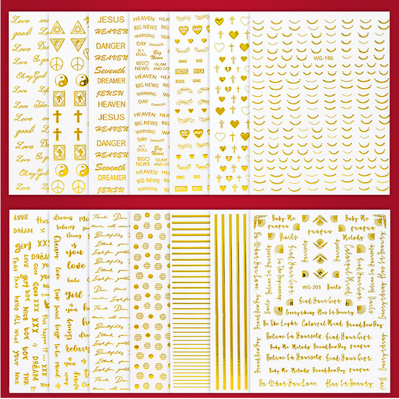 1Sheet 3D Water Decals Nail Art Stickers cross letter geometry gold color  Stickers for Nails Sticker Decorations Manicure Z041
