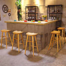 Bar Chair Bar Furniture Commercial Furniture American country solid wood bar stool high chair home restaurant bar stool 2018 new(China)