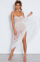 Sexy lace dot beach dress swimsuit with cover ups beach wear swimwear women spaghetti strap high split club party dress