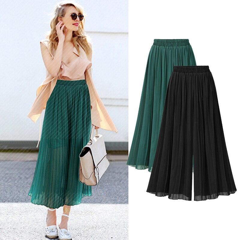 2018 Plus Size 4XL/5XL New Fashion Women Pants Chiffon Big Size Ankle Length Elastic Waist Wide Leg Pleated Pants Vestidos Black