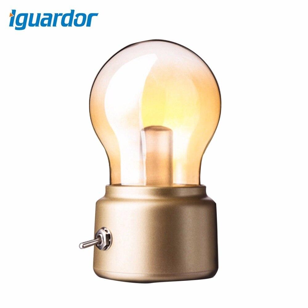 Iguardor 5V USB LED Lamp Charging Retro European Style Decorative Novelty LED Bulb Night Light Golden Black
