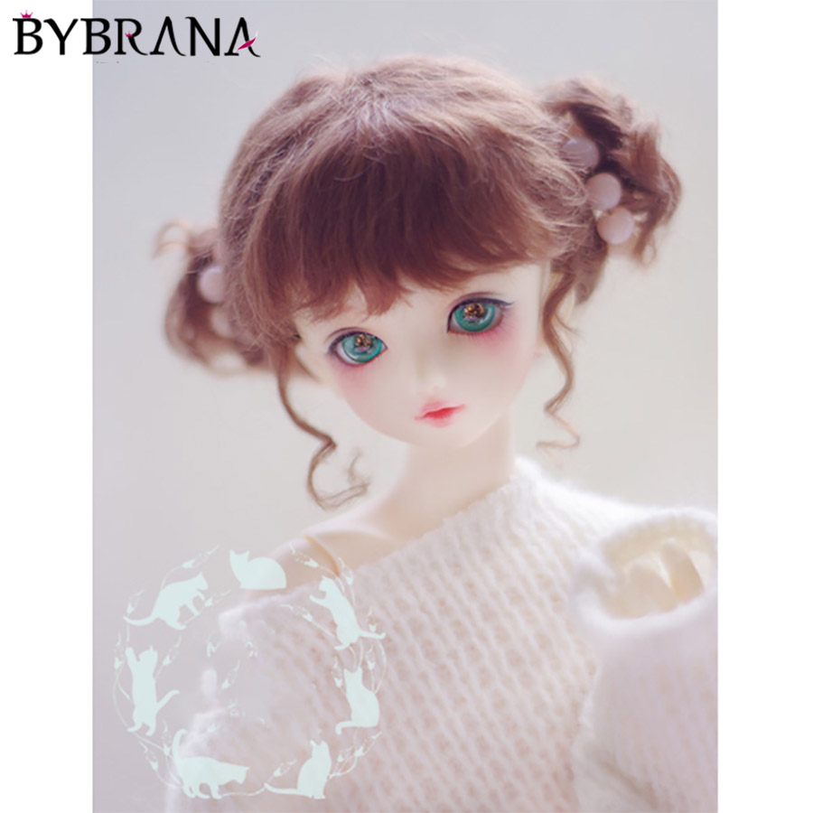 Bybrana <font><b>BJD</b></font> doll <font><b>wig</b></font> 1/8 1/6 1/4 giant doll <font><b>1/3</b></font> mohair red <font><b>brown</b></font> double dumplings hair image