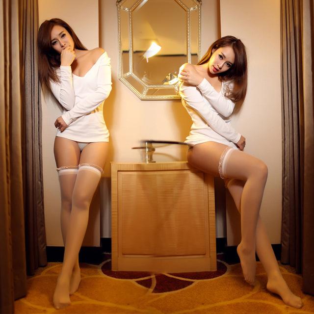 Envío libre las importaciones ESTADOUNIDENSES de la oreja de madera selebritee medias de la tentación atractiva transparente ropa interior de La Señora 23309
