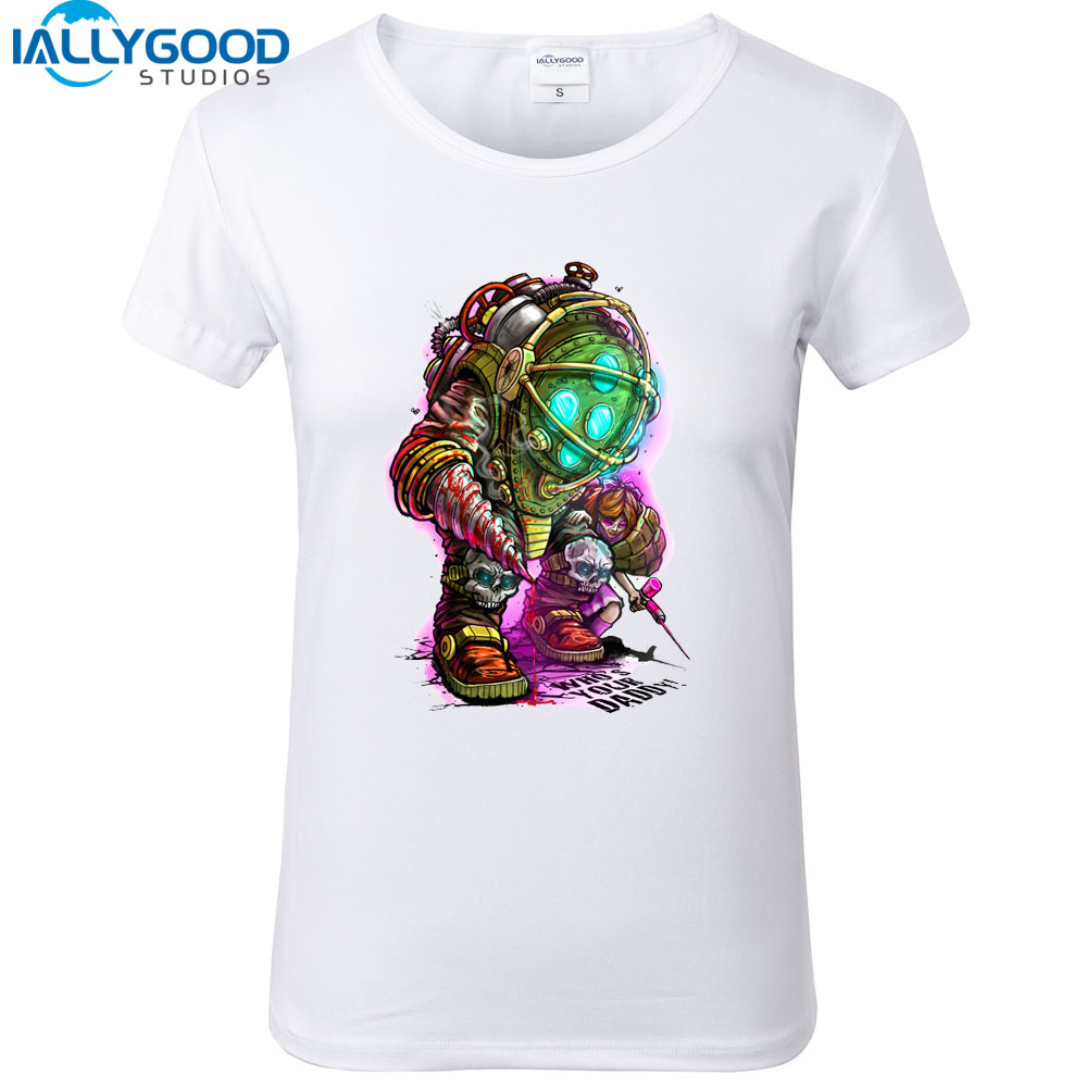 New Summer Fashion Funny Whos Your Daddy Letter Printed Videogames T-Shirts Women Short Sleeve Soft Cotton White Tops S1272