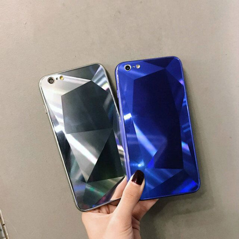 100pcs Luxury Big Block Diamond Style Glass Pc Cases For Iphone Xs Xr 6 7 8 Plus Case For Huawei P9 P10 P20 Honor 10 By Free Dhl