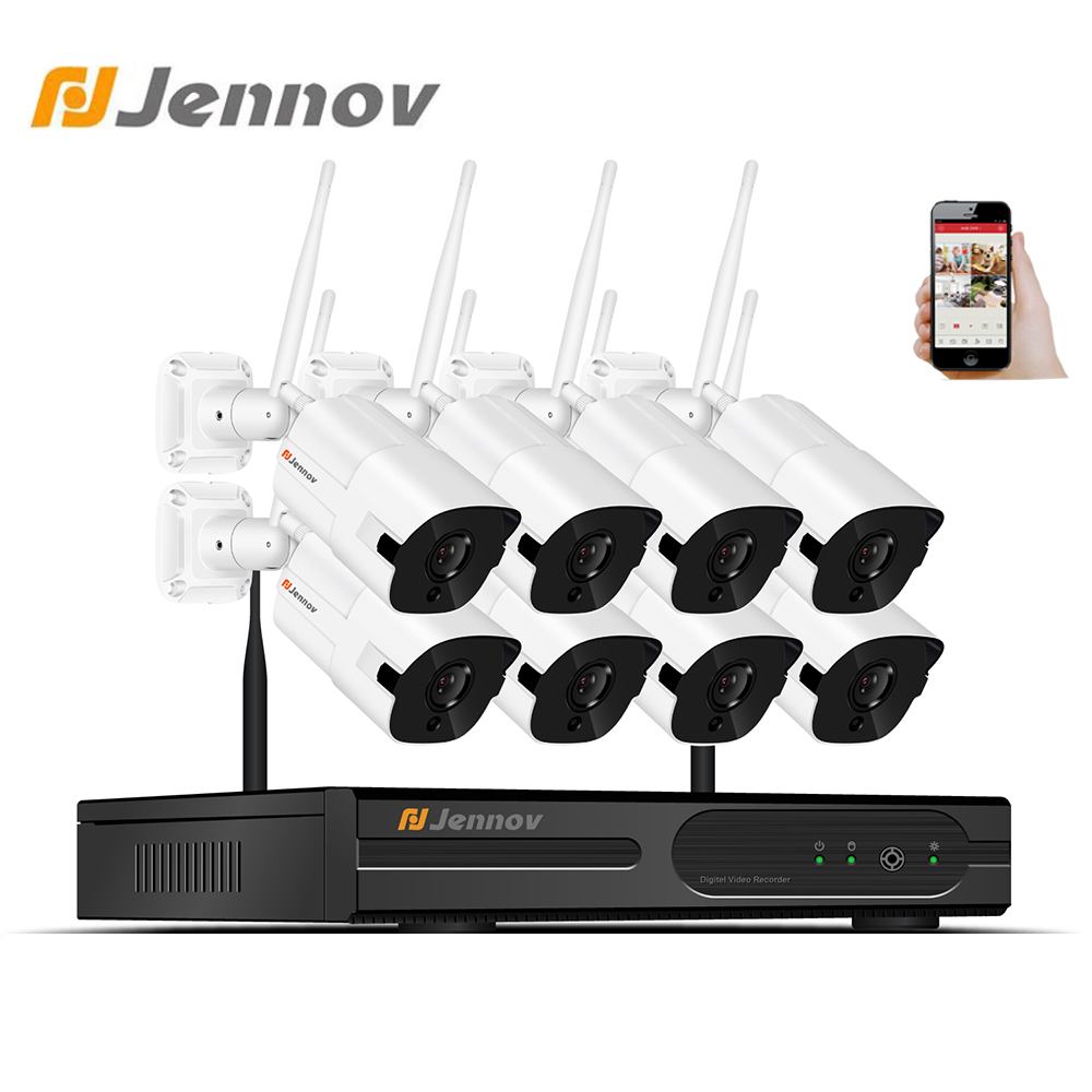 Jennov 2MP 8CH CCTV Wireless Outdor Macchina Fotografica di Sistema di Sicurezza Domestica Kit NVR Wifi Video di Sorveglianza IP 66 Impermeabile Set Di telecamereJennov 2MP 8CH CCTV Wireless Outdor Macchina Fotografica di Sistema di Sicurezza Domestica Kit NVR Wifi Video di Sorveglianza IP 66 Impermeabile Set Di telecamere