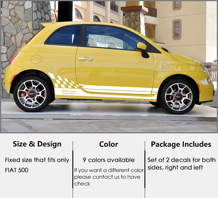 Car Stickers Strong-Willed Automobile Innovate 2pcs Car Styling Abarth Side Skirt Sticker Racing Stripe Body Stickers For Fiat 500 Car Styling Da-65 Durable Service