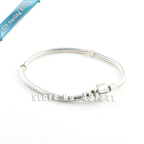Fit Pandora DIY Murano Glass Charm Beads Bracelets S925 Sterling Silver Snake Chain With Clasp