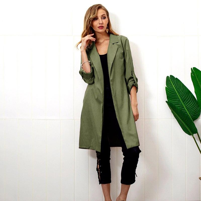 2019 Spring Long Trench Coat for Women Fashion Open Front Belt OL Casual Windbreaker Vintage Streetwear Clothes casaco feminino