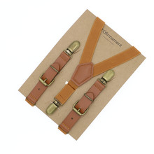 Kids leather suspenders fashion baby braces Strong 3 metal Clips Suspensorio Elastic Strap children boys brown