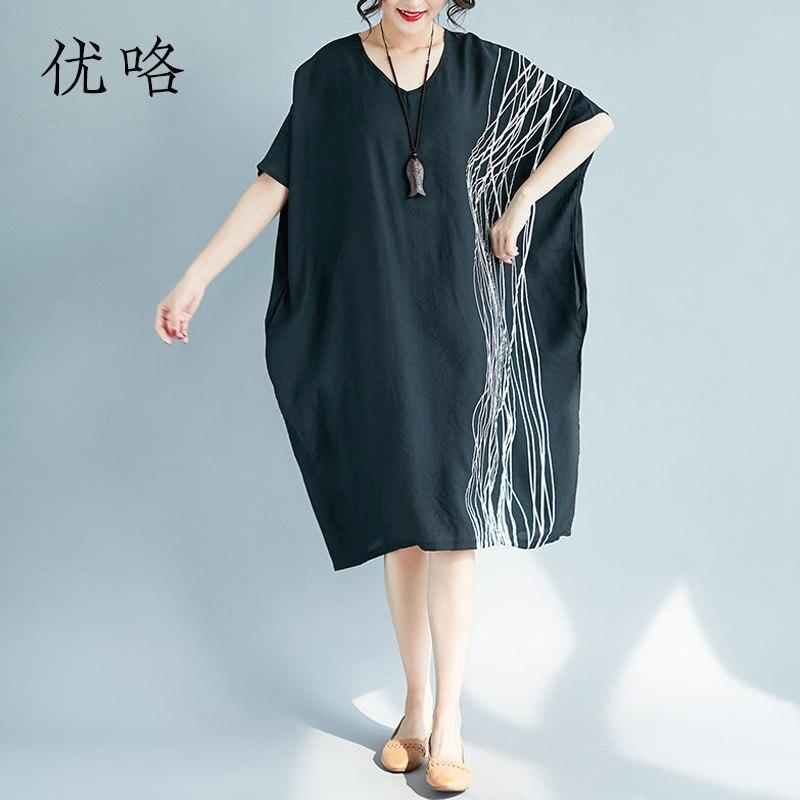 4XL 5XL 6XL 7XL Plus Size Art Striped Linen Dress Women Batwing Sleeve Casual Loose Oversize Midi Dress 2019 Summer Dresses