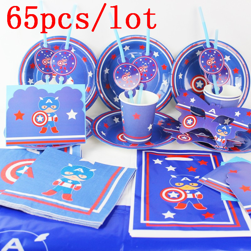Captain America Theme 65Pcs Cup Plate Banner Straw Baby Shower Boy Birthday Party Horn Blowout Invitation Card Decoration Supply