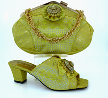 MM1011 Yellow Color font b Woman b font Shoes And Matching Bag Set With High Quality