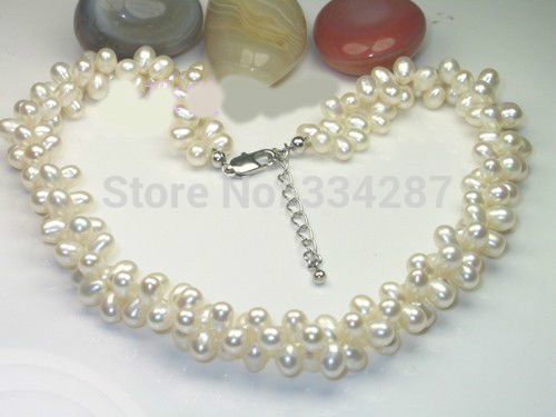 "100% Selling Picture full Lovely AAA Grade Double Strand 18"" Long 5-6MM White pearl Necklace"
