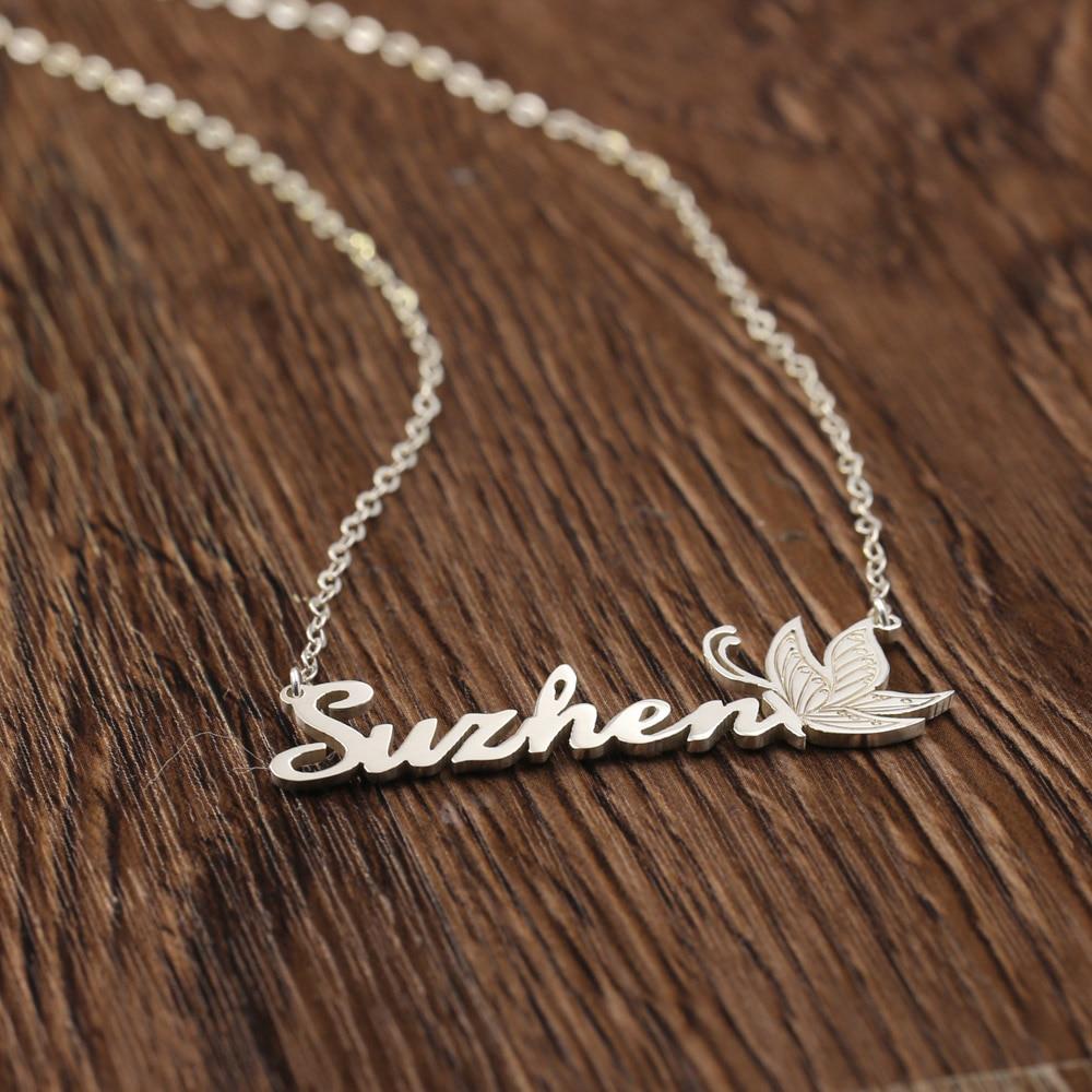 f702f9fec3d3 Nombre personalizado Collar personalizado 925 Plata de la joyería  personalizada grabado mariposa collar regalo de Navidad