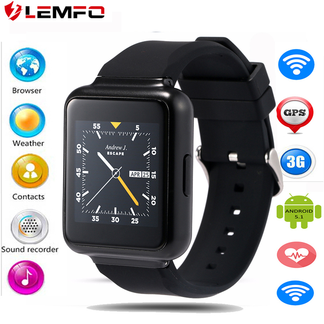 Lemfo Q1 Android 5.1 OS Smart Watch MTK6580 Поддержка Nano СИМ-карты Google app скачать Голосовой поиск 3 г wi-fi Smartwatch телефон