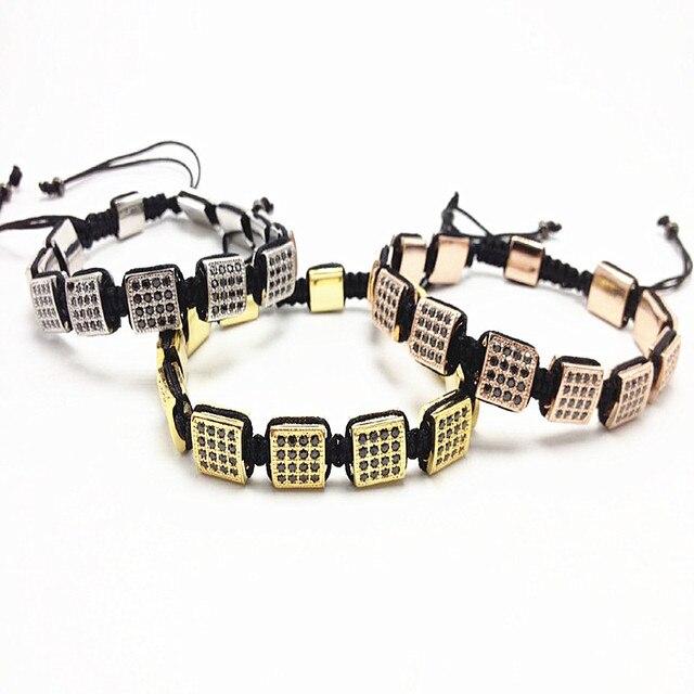 1pcs Top Anil Brand 10mm Cubic Zircon Paved Bracelet Micro Pave Black CZ box bracelet Men Braiding Sqaure Macrame Bracelet