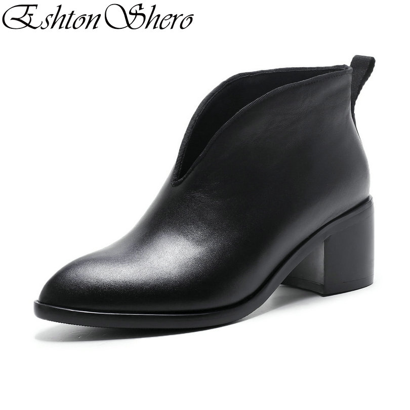 EshtonShero Spring Women Shoes Solid Woman Ankle Boots Cow Leather+PU High Heel Pointed Toe Ladies Motorcycle Boots Size 34-39EshtonShero Spring Women Shoes Solid Woman Ankle Boots Cow Leather+PU High Heel Pointed Toe Ladies Motorcycle Boots Size 34-39