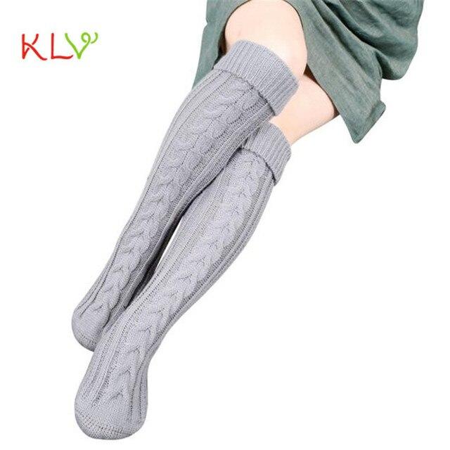 Ботфорты наличии высокого Носки для девочек Для женщин шаг ноги вязать шерстяная Пряжа выше колена наличии высокого Носки для девочек Женская Мода 17aug23