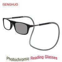 Модернизированные магнитные переходные солнцезащитные фотохромные очки для чтения Регулируемые подвесные шейные Магнитные Передние прес...