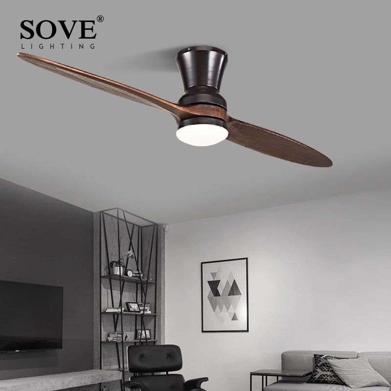 SOVE Modern LED Village Wooden Ceiling Fan Without Light Wood Ceiling Fans With Lights Decorative DC Ceiling Light Fan Lamp 220