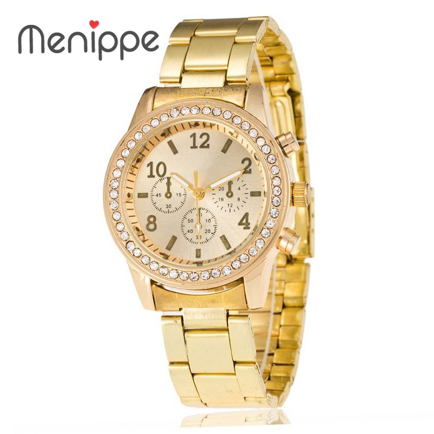2020 New Fashion Geneva Watch Women Dress Watches Rose Gold Watch Full Steel Analog Quartz Men Ladies Rhinestone Wrist Watches