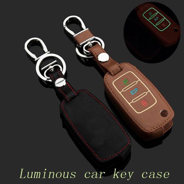 For VW Sagitar Magotan Bora Tiguan Touran Passat POLO Jetta Golf Genuine Leather Car Key Case Cover Key chain Rings accessories