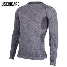 Men Gray T shirt Long Sleeve Seamless Slim Fit Collar O-Neck Breathable Warm Keep Elastic Sports T-Shirt For Men Hiking JW027