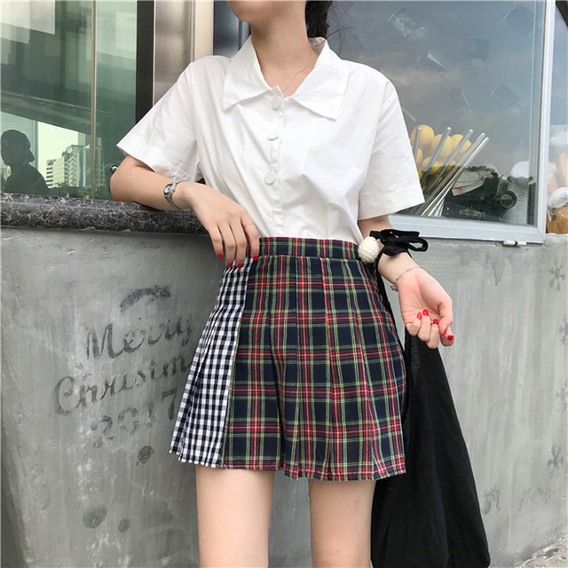 US $12 57 20% OFF|Kpop Spring women plus size lolita saia high waist  contrast color grid stitching pleated skirt Harajuku A word skirts-in  Skirts from